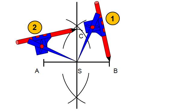 Odmierz cyrklem odległość od środka odcinka i zaznacz łuk na prostej symetralnej