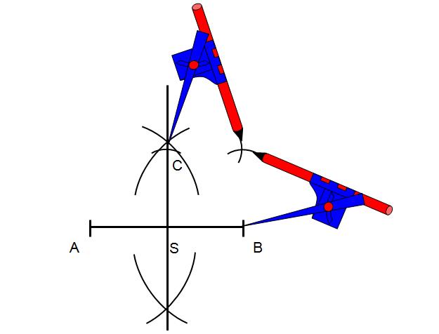 Tą samą rozwartością cyrkla wykonaj łuk z punktu B i otrzymanego punktu C