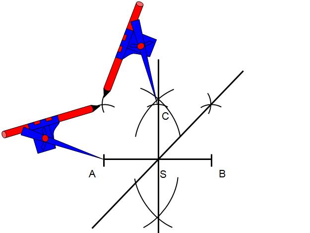 Nie zmieniając rozwartości cyrkla wykonaj łuk z punktu A i z punktu C po drugiej stronie prostej symetralnej do odcinka AB