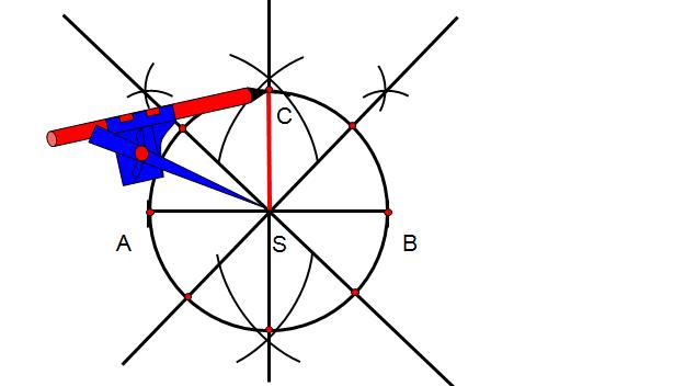 Nie zmieniając rozwartości cyrkla wykonaj okrąg, którego odcinek AB jest średnicą tego okręgu. Otrzymujemy osiem punktów przecięcia z okręgiem.