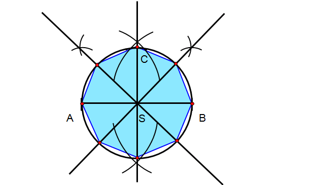 Połącz punkty stykające się z okręgiem otrzymując konstrukcję ośmiokąta foremnego