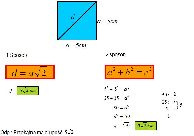 Wzór na przekątną w kwadracie