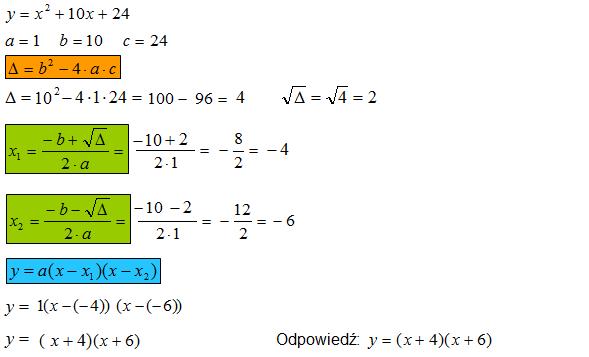 Zadanie na postać iloczynową trójmianu kwadratowego