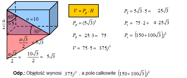 Objętość i pole powierzchni całkowitej graniastosłupa