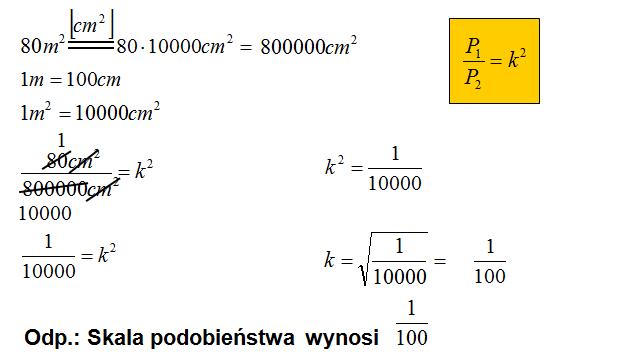 Stosunek pól figur podobnych zadanie matematyczne