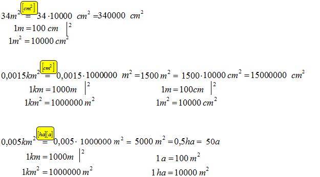 Zamiana jednostek kwadratowych, zamień jednostki kwadratowe