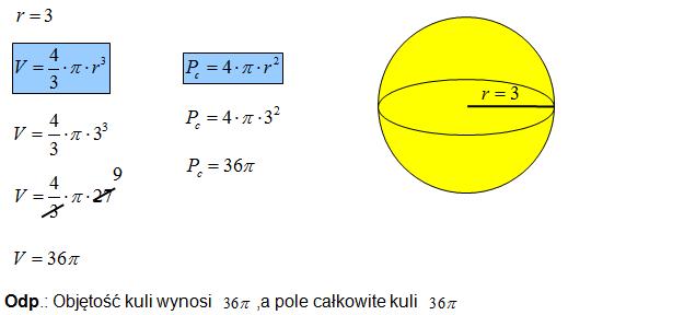 Objętość i pole całkowite kuli
