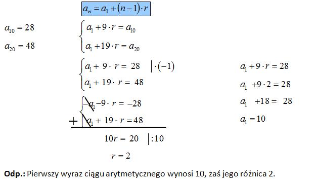 Wyznaczanie ciągu arytmetycznego o danych dwóch wyrazach