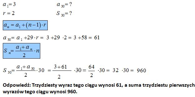 Suma kilku wyrazów ciągu arytmetycznego
