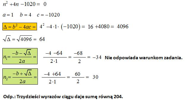 Suma w ciągu arytmetycznym