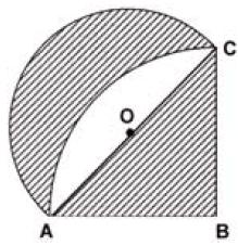 Pole figury ograniczonej okręgiem i trójkątem