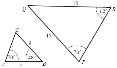Trójkąty podobne, cecha podobieństwa bkb