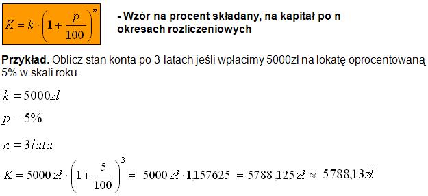 Wzór na procent składany