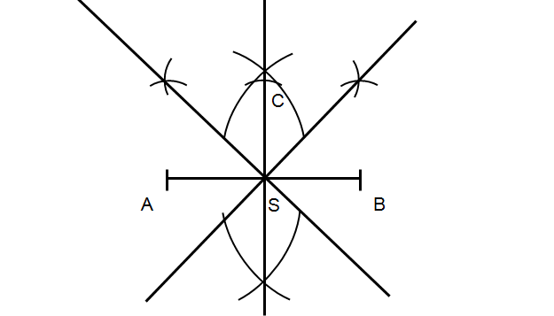 Połącz łuki ze środkiem odcinka otrzymując kolejną dwusieczną kąta