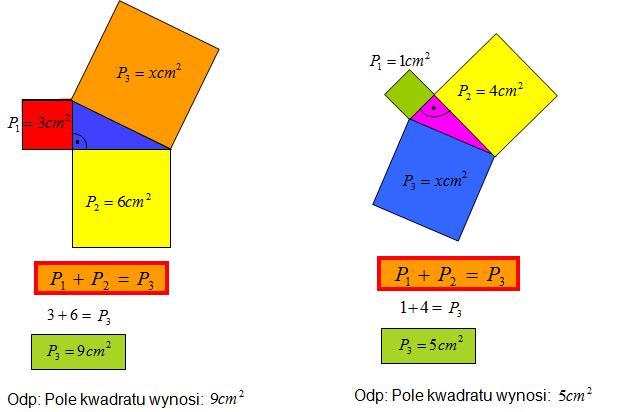 Podstawowe zadania z twierdzenia Pitagorasa