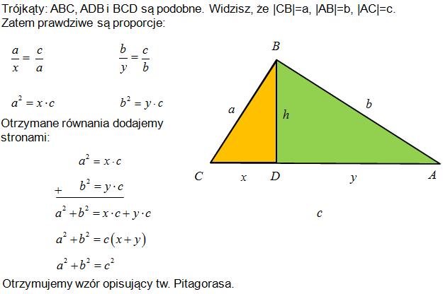 Dowód twierdzenia Pitagorasa przez podobieństwo