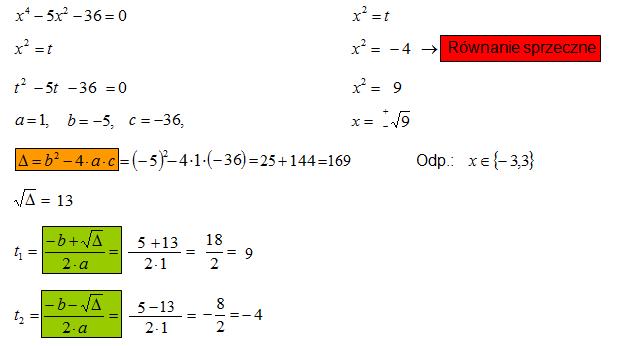 Równanie sprowadzone do równania kwadratowego