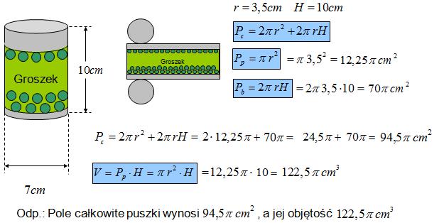 Pole całkowite i objętość walca zadanie matematyczne